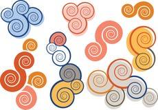 Abstracte spiraalvormige tekens Stock Foto