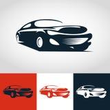 Abstracte sportwagenillustratie Het vectormalplaatje van het embleemontwerp Stock Afbeeldingen