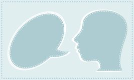 Abstracte spreker met toespraakbellen in het hoofd Stock Afbeelding