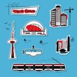 Abstracte Stad van Toronto op blauwe achtergrond Stock Illustratie