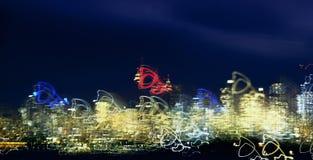 Abstracte stadshorizon bij nacht stock afbeelding