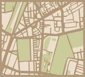 Abstracte stadskaart met straten, gebouwen en park Royalty-vrije Stock Afbeeldingen