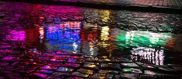 Abstracte stedelijke achtergrond Lichten en schaduwen van de stad Stock Foto