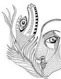 Abstracte surreal gezicht en hand met mehnditatoegering Stock Afbeelding