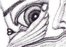 Abstracte surreal hand die vectormalplaatje trekken Stock Afbeeldingen