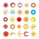 Abstracte symbolen van de zon Royalty-vrije Stock Afbeelding