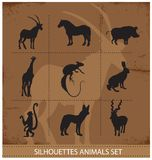 Abstracte symbolen van dierensilhouet Stock Afbeeldingen
