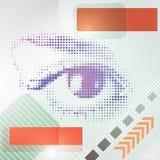 Abstracte technoachtergrond met een menselijk oog. Stock Afbeeldingen