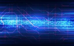 Abstracte technologie achtergrondkringsraad en HTML-3D code, Stock Afbeelding