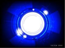 Abstracte technologie blauwe gekleurde achtergrond met heldere gloed Vector illustratie Stock Afbeeldingen