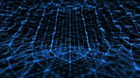 Abstracte technologie en wetenschap gebogen ruimte met het blauw van het lijnennet stock illustratie