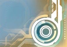 Abstracte technologie futuristische vecto als achtergrond, blauwe en oranje Stock Afbeelding
