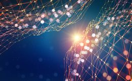 Abstracte technologieachtergrond Glanzende ster Gloeiend veelhoeknetwerk met bokeheffect vector illustratie