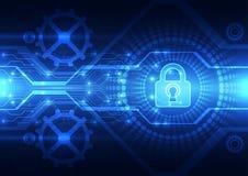 Abstracte technologieveiligheid op globale netwerkachtergrond, vectorillustratie royalty-vrije illustratie