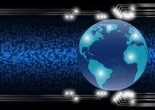 Abstracte technologiewereld als achtergrond in het digitale tijdperk; toekomstig technologieconcept stock foto