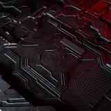 Abstracte technologische die achtergrond van verschillende element gedrukte kringsraad en gloed wordt gemaakt Stock Afbeelding