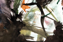 Abstracte tekening met waterverf stock afbeeldingen