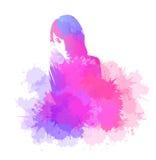 Abstracte tekening van een meisje met waterverfplonsen stock illustratie