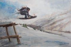 Abstracte tekening van een skateboarder stock illustratie
