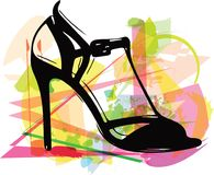 Abstracte tekening van hoge hiel vrouwelijke schoenen stock illustratie