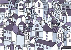 Abstracte tekening van stadsachtergrond Royalty-vrije Stock Afbeeldingen