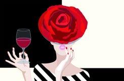 Abstracte tekening van vrouw in bloemenhoed van rode rozen stock illustratie