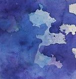 Abstracte textuur Blauwe waterverfvlekken op papier royalty-vrije stock fotografie