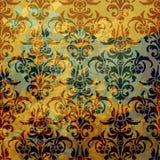 Abstracte textuur Illustratie met kunstbloem op gouden achtergrond Stock Afbeeldingen