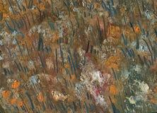 Abstracte textuur van chaotische borstelslagen Landschap met rivier en bos Stock Foto