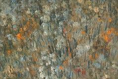 Abstracte textuur van chaotische borstelslagen Landschap met rivier en bos Royalty-vrije Stock Afbeeldingen