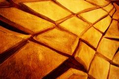 Abstracte textuur van gebarsten gele muur Stock Fotografie