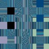 Abstracte textuur in wit en blauw Blauwe textiel backgroun Lapwerkpatroon royalty-vrije illustratie