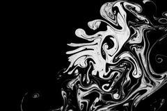Abstracte textuurinkt op water in zwart-witte kleur stock afbeeldingen