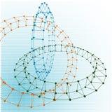 Abstracte torus gestippelde die lijnen met grafiek worden verbonden Stock Foto