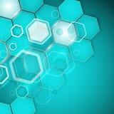 Abstracte turkooise zeshoek als achtergrond Vector illustratie Stock Fotografie