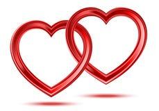 Abstracte twee glanzende hartenvormen vector illustratie