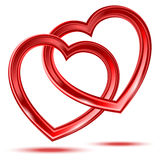 Abstracte twee glanzende hartenvormen Stock Afbeeldingen
