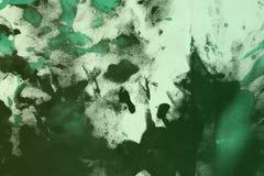 Abstracte uitstekende wintertaling, sea-green willekeurig geschilderd canvas, stof met de vlekken van de kleurenverf en vlekkente stock fotografie