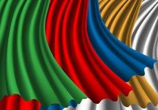 Abstracte van de de golfoverlapping van de stoffenkleur vector als achtergrond Royalty-vrije Stock Afbeeldingen