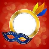Abstracte van de het gevederte gouden cirkel partijmasker van het de achtergrond rode van Carnaval het kaderillustratie royalty-vrije illustratie