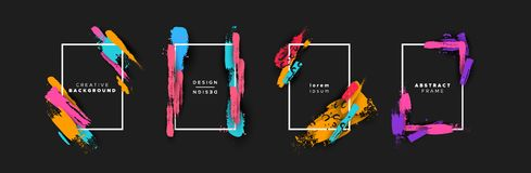 Abstracte van de kleurenborstel sjabloonset als achtergrond vector illustratie