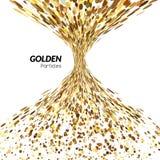 Abstracte van de trechtertornado gouden punten als achtergrond Bannerachtergrond, vector gouden affiche Het gouden concept van he Stock Afbeeldingen