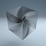 Abstracte van het de kubus 3d embleem van de technologiedraad het metaalachtergrond Stock Foto