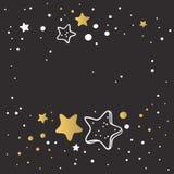 Abstracte van het van de Achtergrond Kerstmis gouden ster ruimte grafische de kunst vectorillustratie ontwerpbehang Royalty-vrije Stock Fotografie