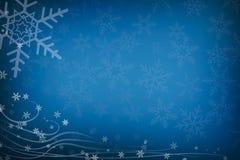 Abstracte van Kerstmissneeuwvlokken en Wervelingen Blauwe Achtergrond met Co Royalty-vrije Stock Foto's