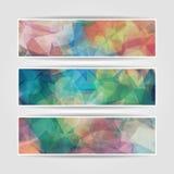Abstracte vastgestelde banners met Moderne Driehoekige Veelhoekige pa Royalty-vrije Stock Afbeelding