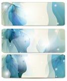 Abstracte vector blauwe die achtergronden voor adreskaartjesontwerp worden geplaatst Royalty-vrije Stock Afbeeldingen