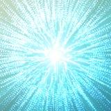 Abstracte vector blauwe ruimteachtergrond Explosie van gebied met gloeiende deeltjes Futuristische technologiestijl Stock Fotografie