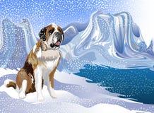 Abstracte vector een hond die van sneeuwval achter de rivier genieten Vector illustratie royalty-vrije stock afbeeldingen