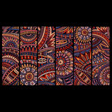 Abstracte vector etnische geplaatste patroonkaarten Royalty-vrije Stock Fotografie